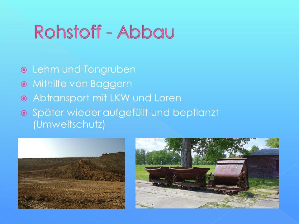  Lehm und Tongruben  Mithilfe von Baggern  Abtransport mit LKW und Loren  Später wieder aufgefüllt und bepflanzt (Umweltschutz)