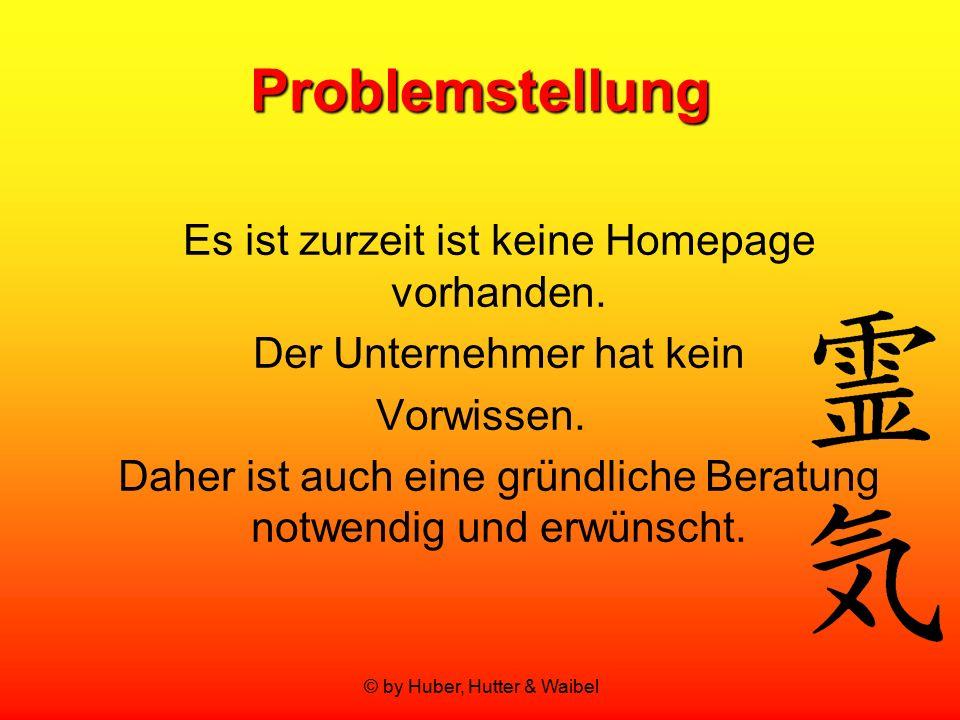 © by Huber, Hutter & Waibel Problemstellung Es ist zurzeit ist keine Homepage vorhanden. Der Unternehmer hat kein Vorwissen. Daher ist auch eine gründ