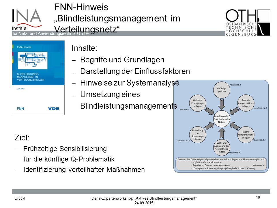 """Dena-Expertenworkshop """"Aktives Blindleistungsmanagement"""" 24.09.2015 Brückl für Netz- und Anwendungstechnik GmbH Institut FNN-Hinweis """"Blindleistungsma"""