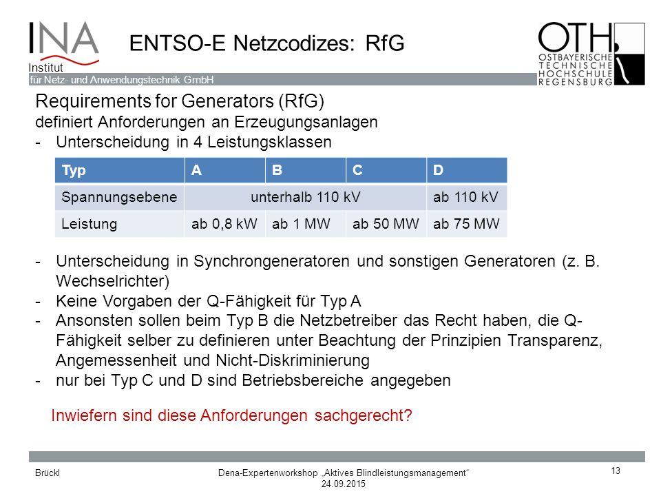 """Dena-Expertenworkshop """"Aktives Blindleistungsmanagement"""" 24.09.2015 Brückl für Netz- und Anwendungstechnik GmbH Institut ENTSO-E Netzcodizes: RfG 13 R"""