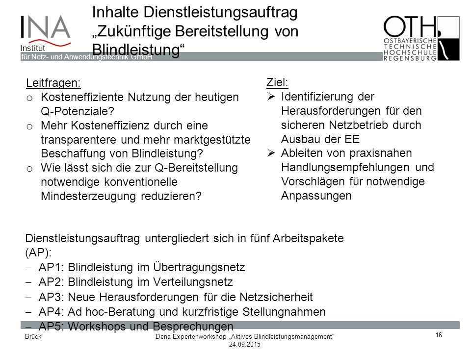 """Dena-Expertenworkshop """"Aktives Blindleistungsmanagement"""" 24.09.2015 Brückl für Netz- und Anwendungstechnik GmbH Institut Inhalte Dienstleistungsauftra"""