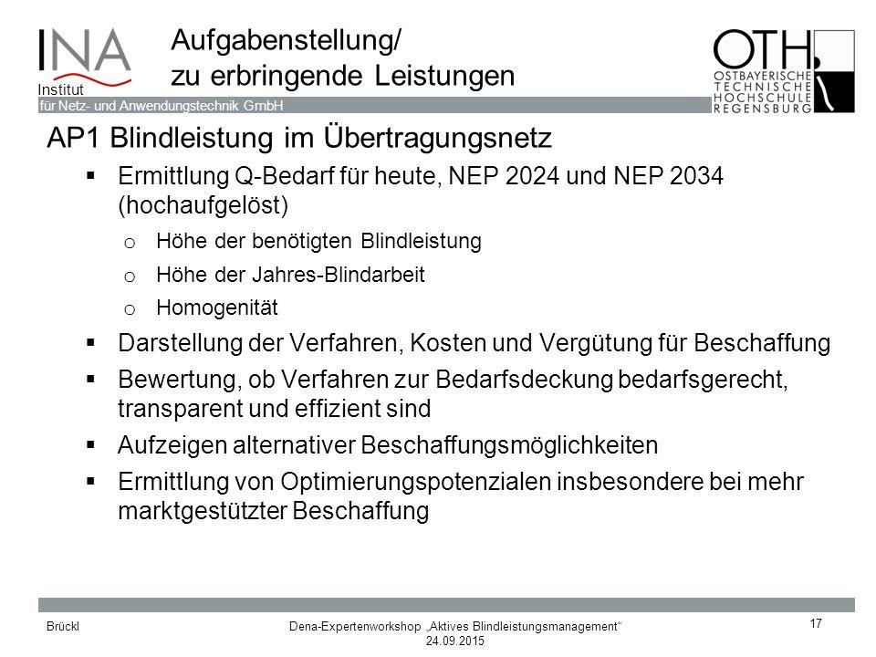 """Dena-Expertenworkshop """"Aktives Blindleistungsmanagement"""" 24.09.2015 Brückl für Netz- und Anwendungstechnik GmbH Institut 17 Aufgabenstellung/ zu erbri"""