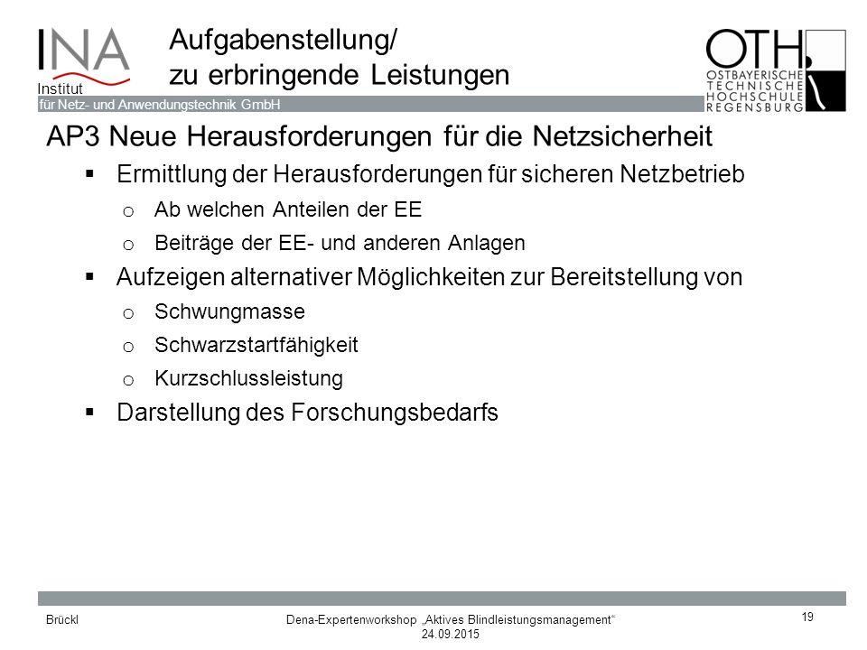 """Dena-Expertenworkshop """"Aktives Blindleistungsmanagement"""" 24.09.2015 Brückl für Netz- und Anwendungstechnik GmbH Institut 19 Aufgabenstellung/ zu erbri"""