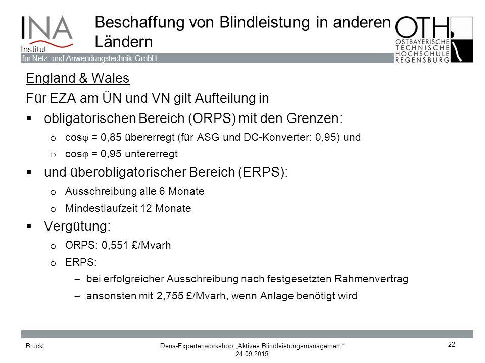 """Dena-Expertenworkshop """"Aktives Blindleistungsmanagement"""" 24.09.2015 Brückl für Netz- und Anwendungstechnik GmbH Institut 22 Beschaffung von Blindleist"""