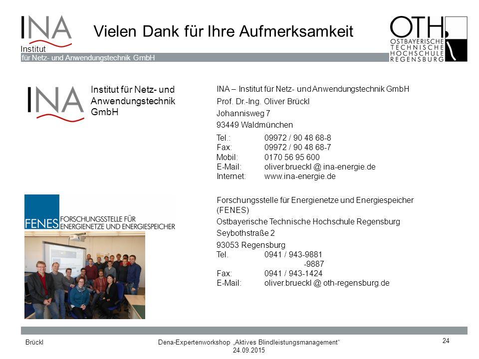 """Dena-Expertenworkshop """"Aktives Blindleistungsmanagement"""" 24.09.2015 Brückl für Netz- und Anwendungstechnik GmbH Institut Vielen Dank für Ihre Aufmerks"""