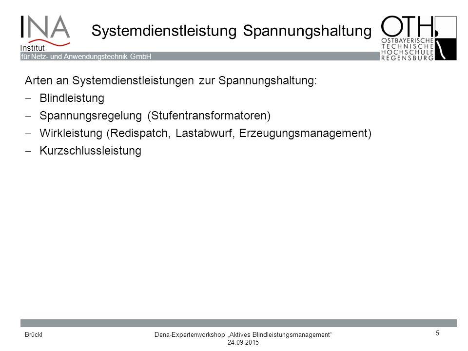 """Dena-Expertenworkshop """"Aktives Blindleistungsmanagement"""" 24.09.2015 Brückl für Netz- und Anwendungstechnik GmbH Institut Systemdienstleistung Spannung"""