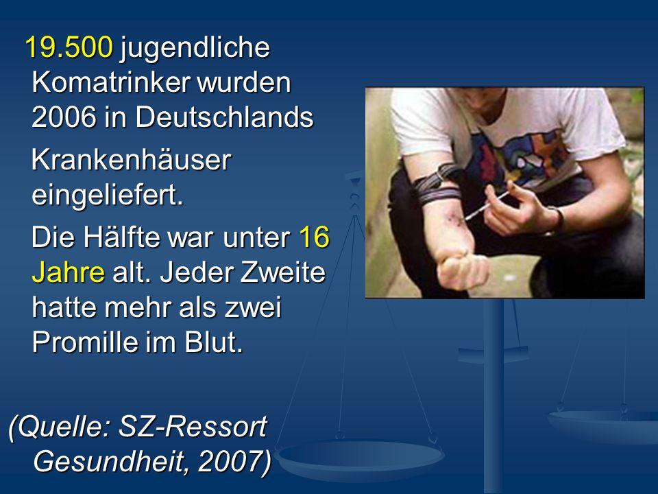 19.500 jugendliche Komatrinker wurden 2006 in Deutschlands 19.500 jugendliche Komatrinker wurden 2006 in Deutschlands Krankenhäuser eingeliefert. Kran