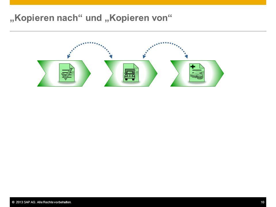 """©2013 SAP AG. Alle Rechte vorbehalten.10 """"Kopieren nach"""" und """"Kopieren von"""""""