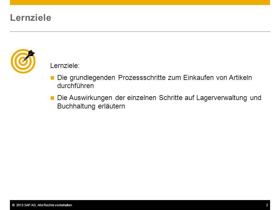 ©2013 SAP AG. Alle Rechte vorbehalten.2 Lernziele: Die grundlegenden Prozessschritte zum Einkaufen von Artikeln durchführen Die Auswirkungen der einze