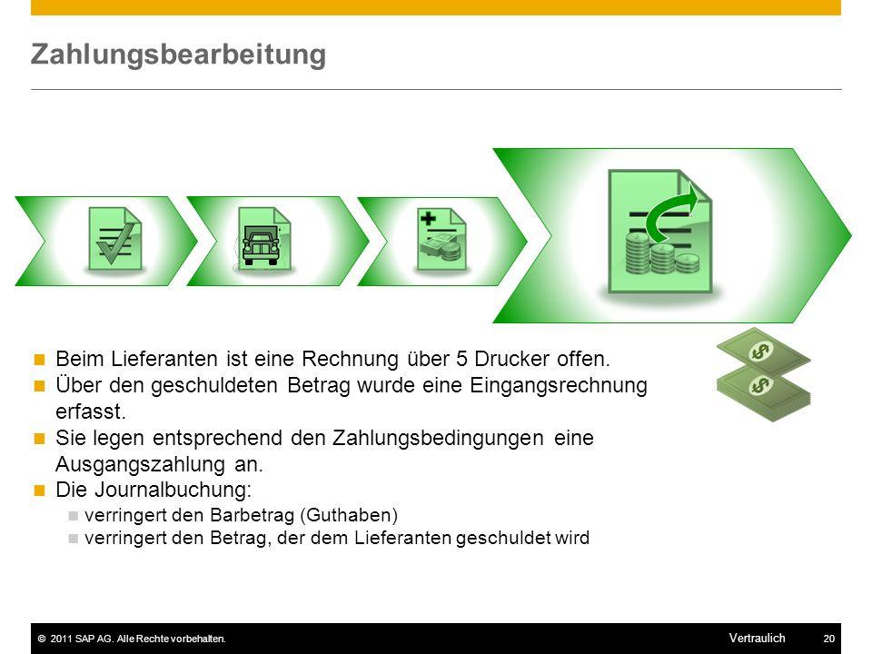 ©2011 SAP AG. Alle Rechte vorbehalten.20 Vertraulich Zahlungsbearbeitung Beim Lieferanten ist eine Rechnung über 5 Drucker offen. Über den geschuldete