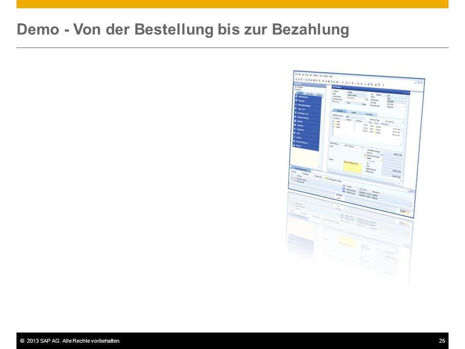 ©2013 SAP AG. Alle Rechte vorbehalten.25 Demo - Von der Bestellung bis zur Bezahlung