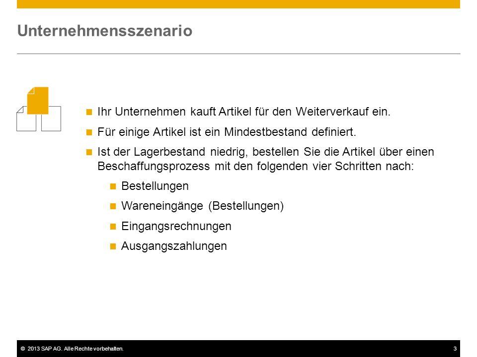 ©2013 SAP AG. Alle Rechte vorbehalten.3 Ihr Unternehmen kauft Artikel für den Weiterverkauf ein. Für einige Artikel ist ein Mindestbestand definiert.