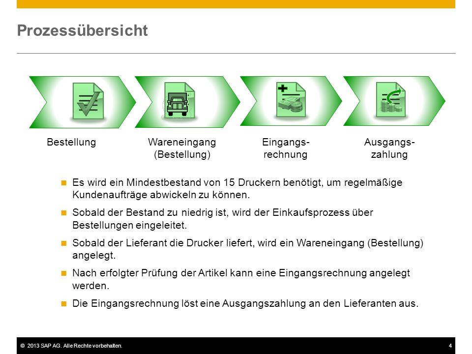 ©2013 SAP AG. Alle Rechte vorbehalten.4 Prozessübersicht Bestellung Wareneingang (Bestellung) Eingangs- rechnung Ausgangs- zahlung Es wird ein Mindest