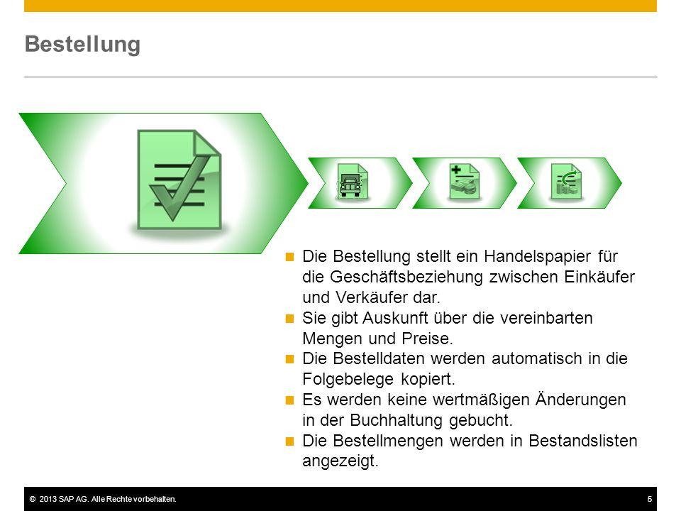 ©2013 SAP AG. Alle Rechte vorbehalten.5 Bestellung Die Bestellung stellt ein Handelspapier für die Geschäftsbeziehung zwischen Einkäufer und Verkäufer