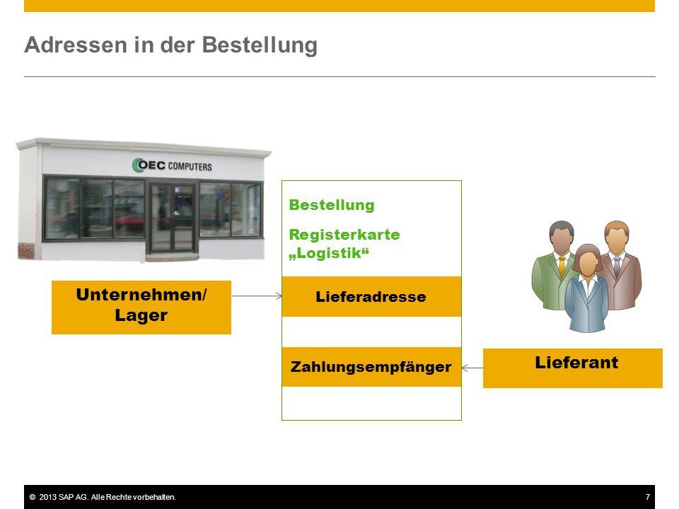 """©2013 SAP AG. Alle Rechte vorbehalten.7 Adressen in der Bestellung Lieferant Lieferadresse Zahlungsempfänger Bestellung Registerkarte """"Logistik"""" Unter"""