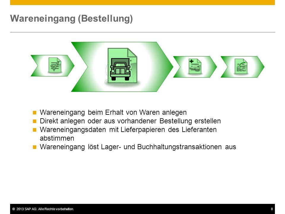 ©2013 SAP AG. Alle Rechte vorbehalten.8 Wareneingang (Bestellung) Wareneingang beim Erhalt von Waren anlegen Direkt anlegen oder aus vorhandener Beste
