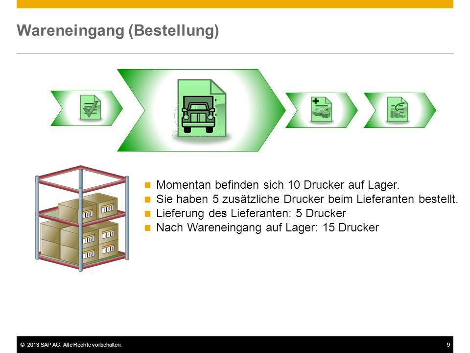 ©2013 SAP AG. Alle Rechte vorbehalten.9 Wareneingang (Bestellung) Momentan befinden sich 10 Drucker auf Lager. Sie haben 5 zusätzliche Drucker beim Li