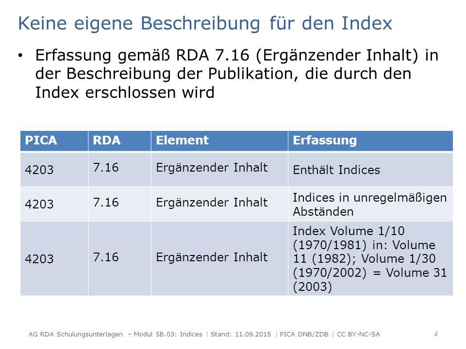 Keine eigene Beschreibung für den Index Erfassung gemäß RDA 7.16 (Ergänzender Inhalt) in der Beschreibung der Publikation, die durch den Index erschlossen wird AG RDA Schulungsunterlagen – Modul 5B.03: Indices | Stand: 11.09.2015 | PICA DNB/ZDB | CC BY-NC-SA 4 PICARDAElementErfassung 4203 7.16Ergänzender Inhalt Enthält Indices 4203 7.16Ergänzender Inhalt Indices in unregelmäßigen Abständen 4203 7.16Ergänzender Inhalt Index Volume 1/10 (1970/1981) in: Volume 11 (1982); Volume 1/30 (1970/2002) = Volume 31 (2003)