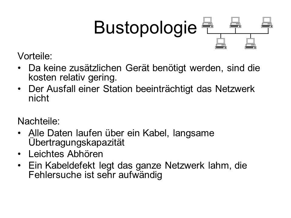 Bustopologie Vorteile: Da keine zusätzlichen Gerät benötigt werden, sind die kosten relativ gering. Der Ausfall einer Station beeinträchtigt das Netzw