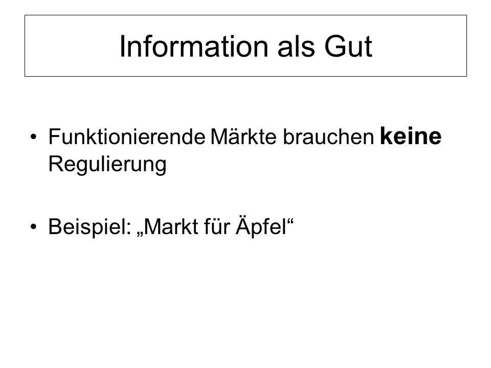 """Information als Gut Funktionierende Märkte brauchen keine Regulierung Beispiel: """"Markt für Äpfel"""