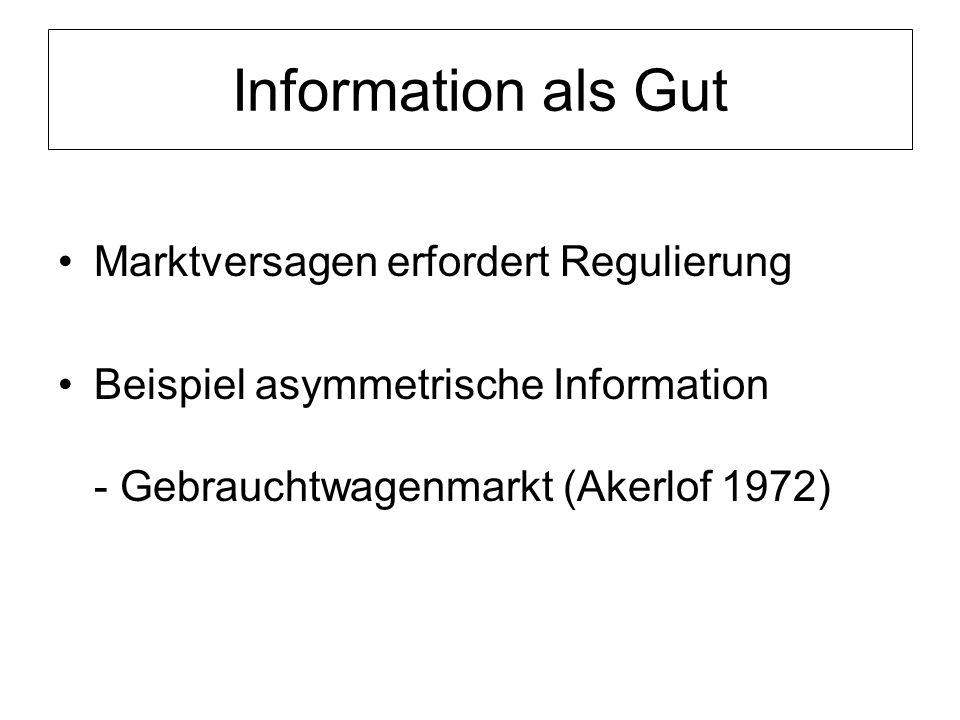 Information als Gut Marktversagen erfordert Regulierung Beispiel asymmetrische Information - Gebrauchtwagenmarkt (Akerlof 1972)