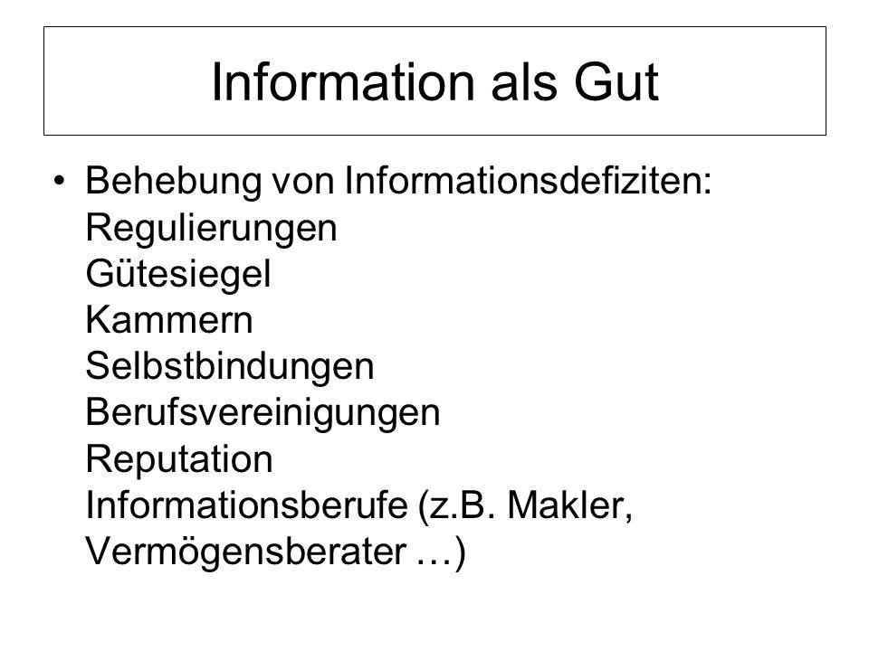 Information als Gut Behebung von Informationsdefiziten: Regulierungen Gütesiegel Kammern Selbstbindungen Berufsvereinigungen Reputation Informationsberufe (z.B.
