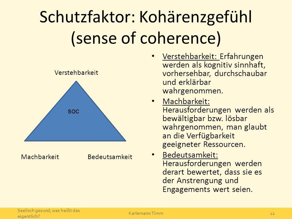Schutzfaktor: Kohärenzgefühl (sense of coherence) Verstehbarkeit Machbarkeit Bedeutsamkeit Verstehbarkeit: Erfahrungen werden als kognitiv sinnhaft, v