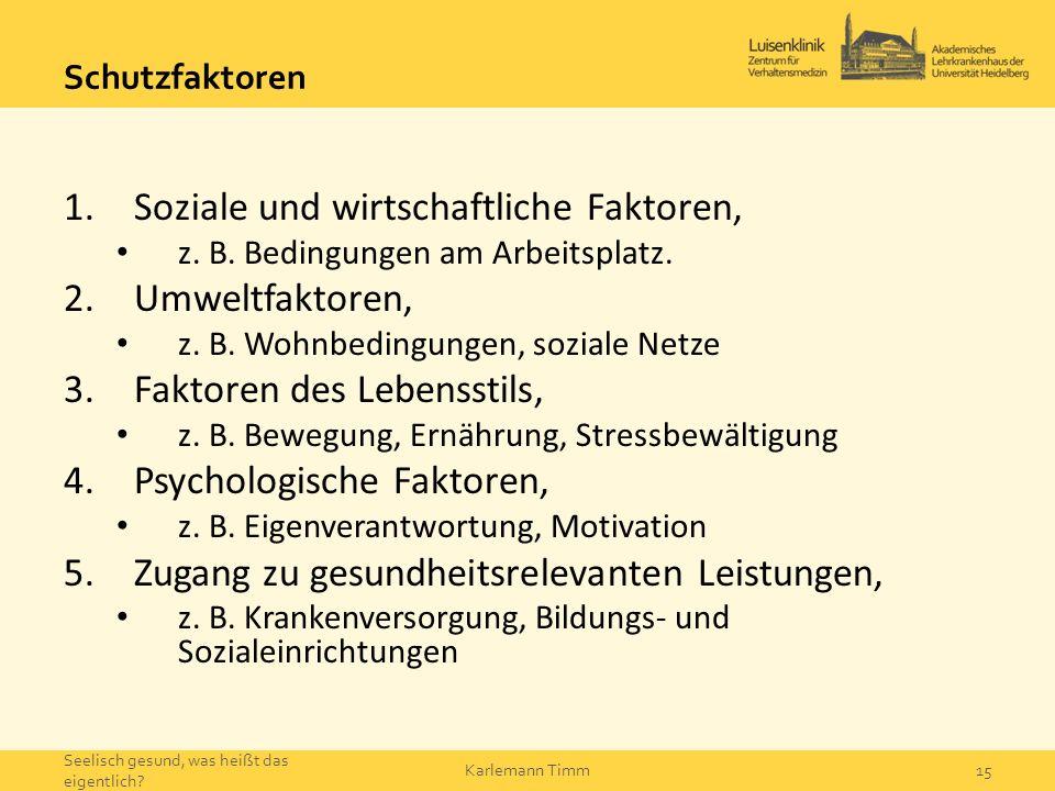 Schutzfaktoren 1.Soziale und wirtschaftliche Faktoren, z. B. Bedingungen am Arbeitsplatz. 2.Umweltfaktoren, z. B. Wohnbedingungen, soziale Netze 3.Fak