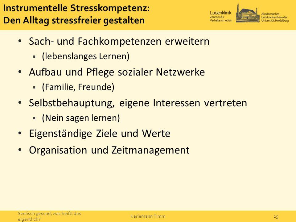 Instrumentelle Stresskompetenz: Den Alltag stressfreier gestalten Sach- und Fachkompetenzen erweitern  (lebenslanges Lernen) Aufbau und Pflege sozial