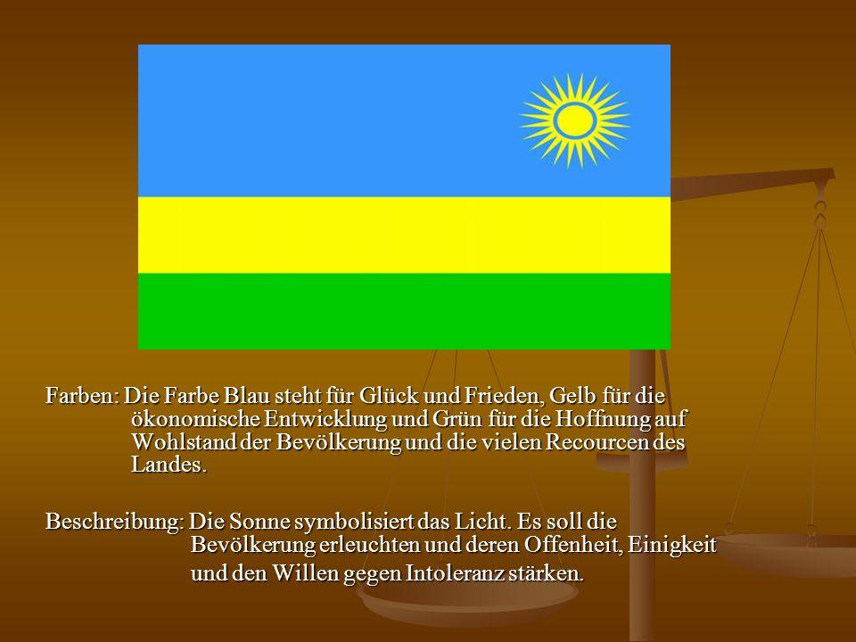 Farben: Die Farbe Blau steht für Glück und Frieden, Gelb für die ökonomische Entwicklung und Grün für die Hoffnung auf Wohlstand der Bevölkerung und d