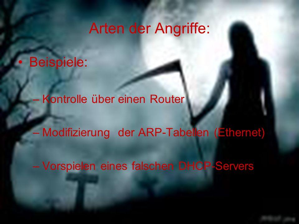 Arten der Angriffe: Beispiele: –Kontrolle über einen Router –Modifizierung der ARP-Tabellen (Ethernet) –Vorspielen eines falschen DHCP-Servers