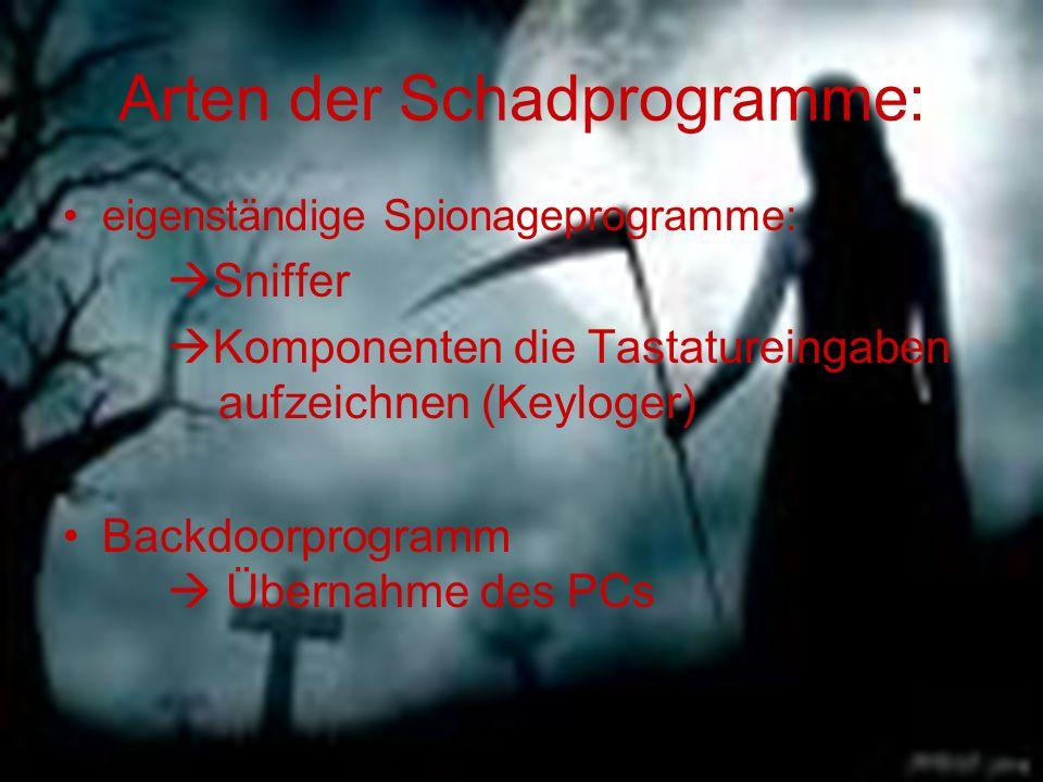 eigenständige Spionageprogramme:  Sniffer  Komponenten die Tastatureingaben aufzeichnen (Keyloger) Backdoorprogramm  Übernahme des PCs Arten der Sc