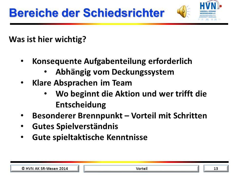 © HVN AK SR-Wesen 2014 12 Vorteil Zusammenfassung Vorteil: grüner Pfeil oder Freiwurf: roter Pfeil Regelwidrigkeiten der ballbesitzenden Mannschaft Sp