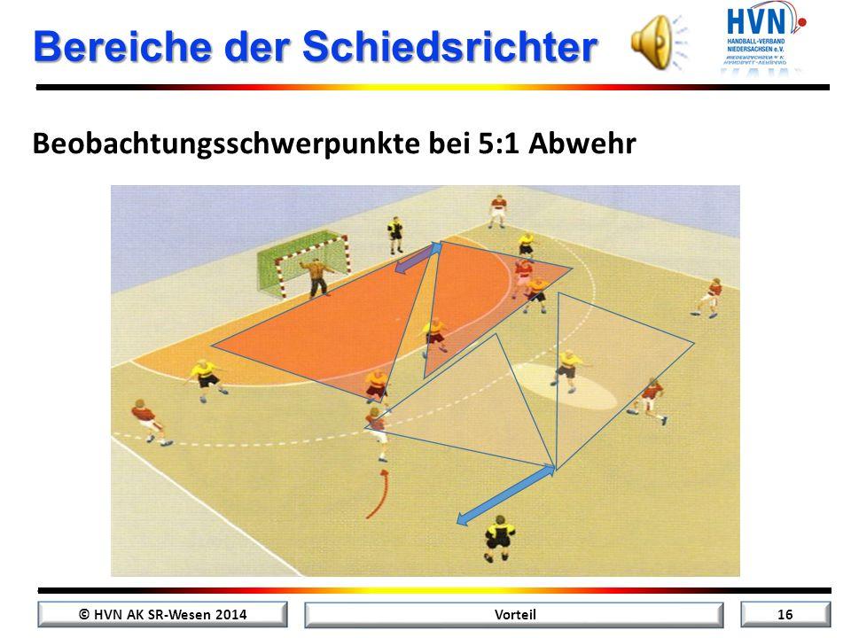 © HVN AK SR-Wesen 2014 15 Vorteil Bereiche der Schiedsrichter Beobachtungsschwerpunkte bei 6:0 Abwehr