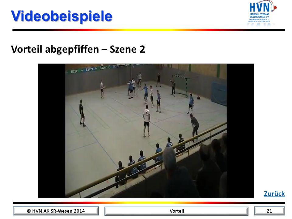 © HVN AK SR-Wesen 2014 20 Vorteil Videobeispiele Vorteil abgepfiffen – Szene 1 Zurück