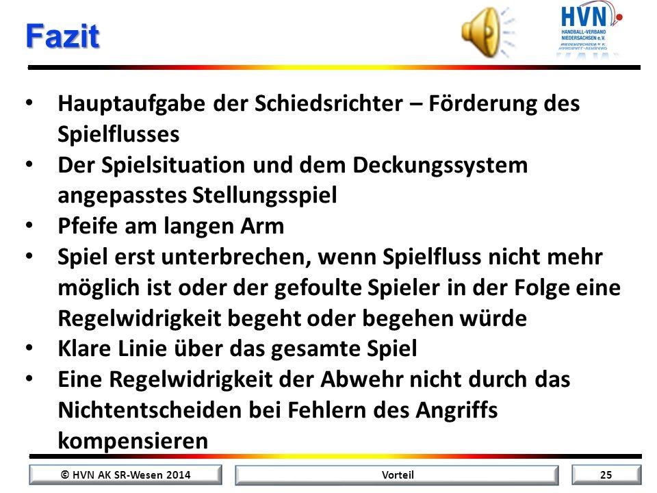 © HVN AK SR-Wesen 2014 24 Vorteil Videobeispiele Vorteil nach Schrittfehler – Szene 5 Zurück