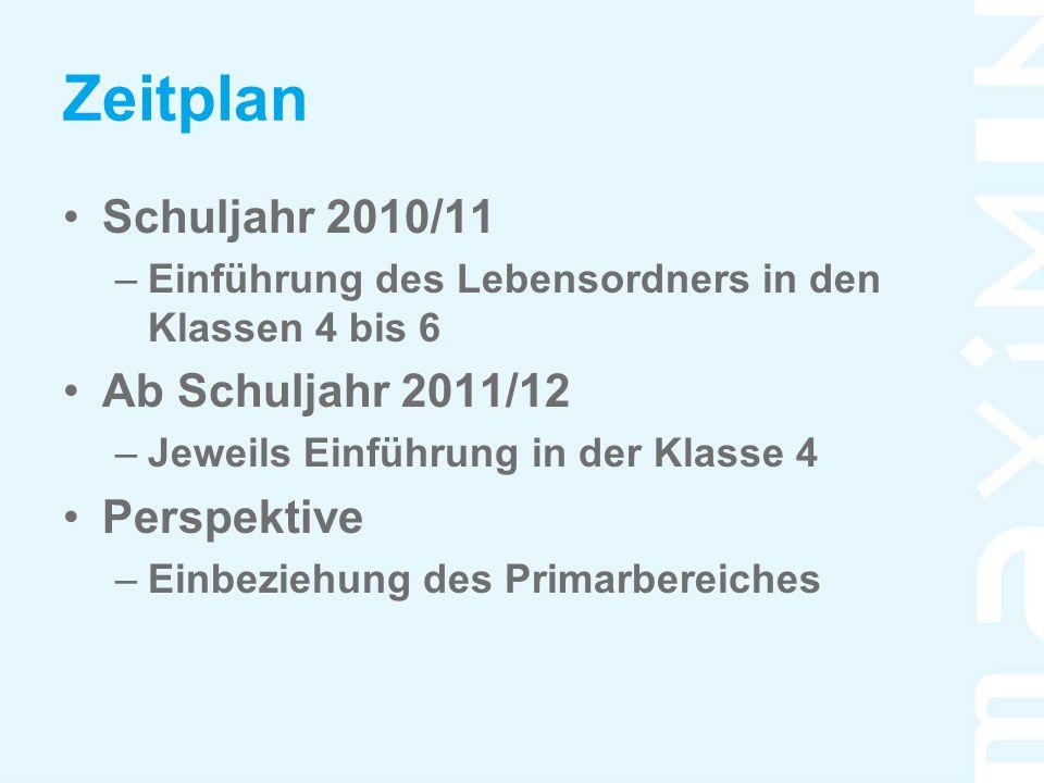 Zeitplan Schuljahr 2010/11 –Einführung des Lebensordners in den Klassen 4 bis 6 Ab Schuljahr 2011/12 –Jeweils Einführung in der Klasse 4 Perspektive –