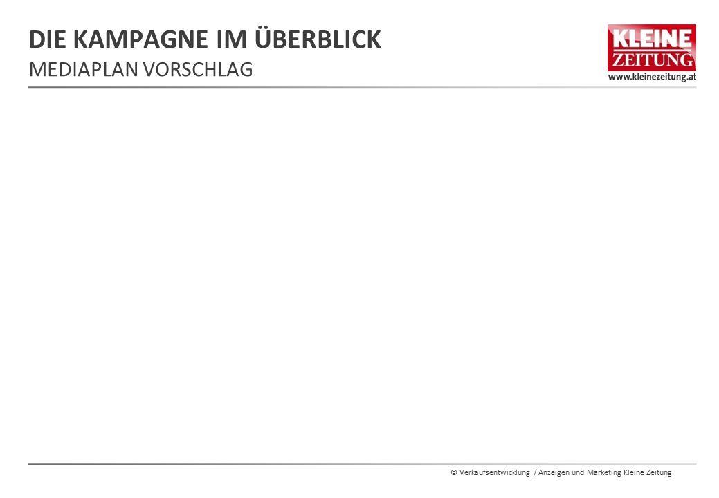 © Verkaufsentwicklung / Anzeigen und Marketing Kleine Zeitung DIE KAMPAGNE IM ÜBERBLICK MEDIAPLAN VORSCHLAG