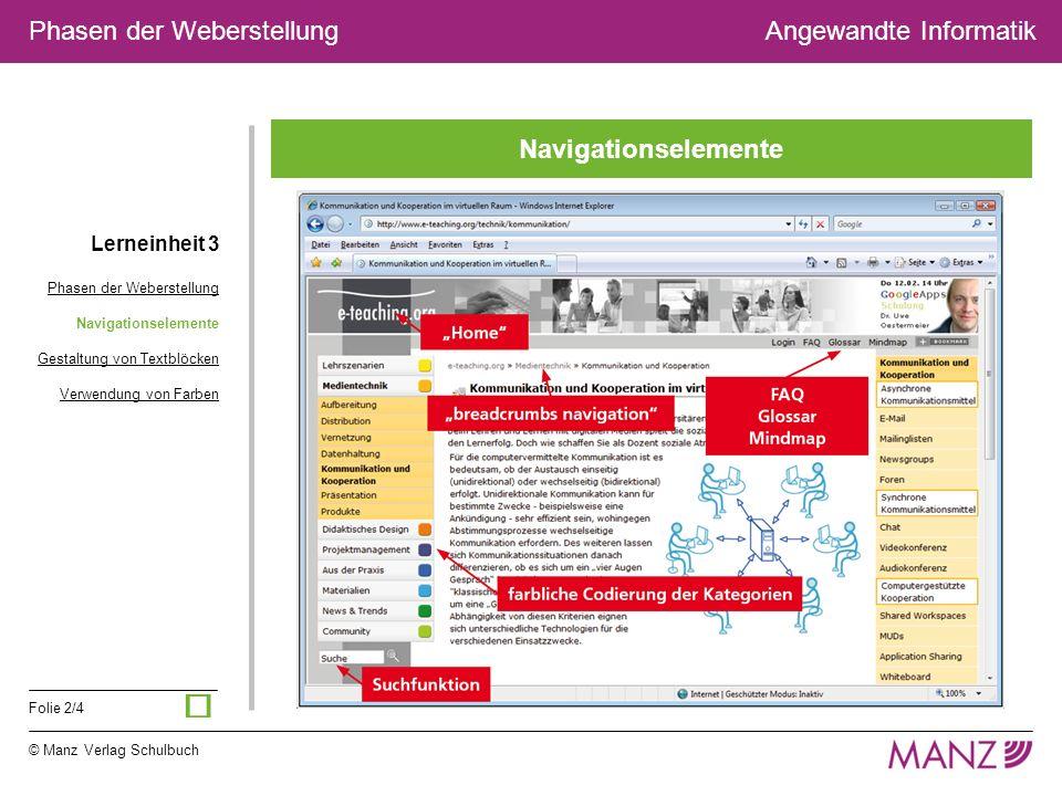 © Manz Verlag Schulbuch Folie 2/4 Phasen der WeberstellungAngewandte Informatik Navigationselemente Lerneinheit 3 Phasen der Weberstellung Navigations