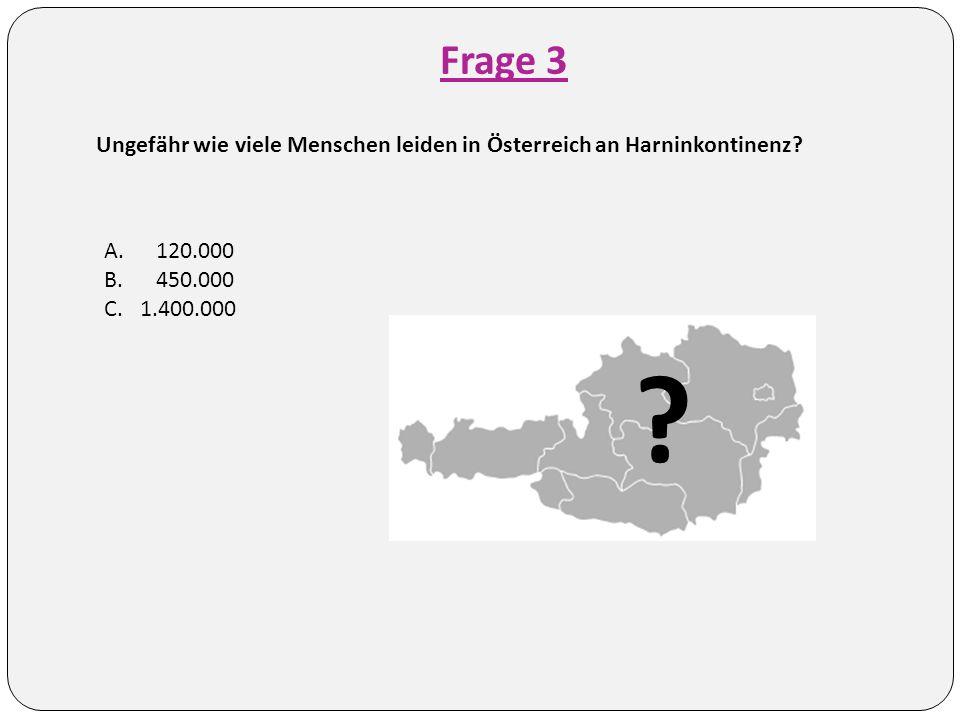 Frage 3 Ungefähr wie viele Menschen leiden in Österreich an Harninkontinenz.