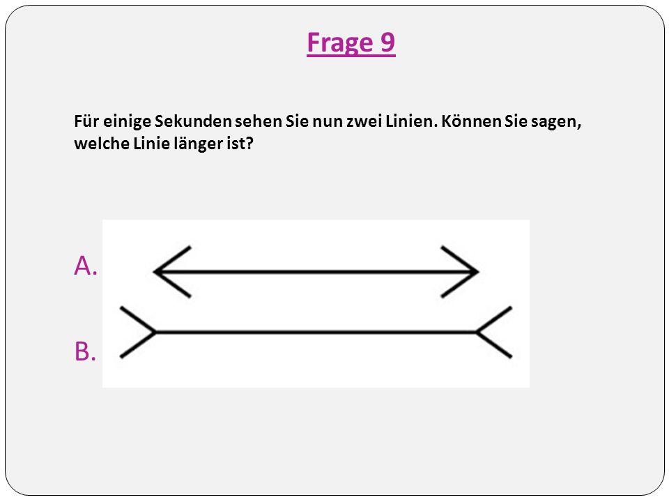 Frage 9 Für einige Sekunden sehen Sie nun zwei Linien.