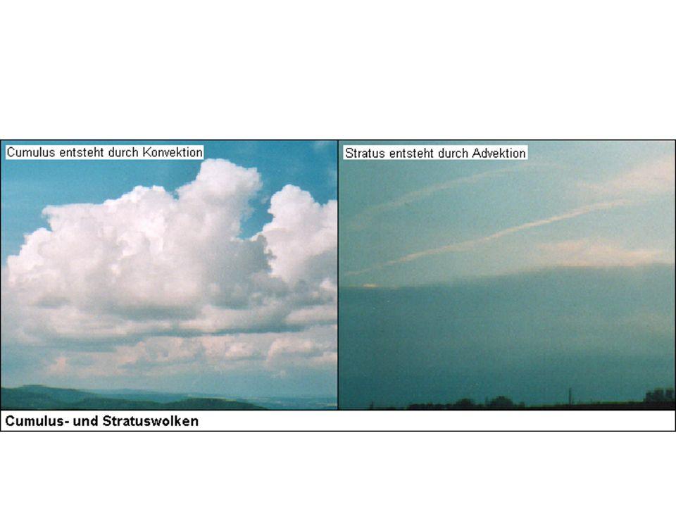 Grundsätzlich gibt es zwie Grundformen: Cumuluswolken (scharf begrenzt) entstehen durch Konvektion.