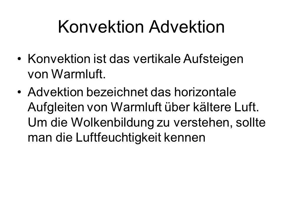 Konvektion Advektion Konvektion ist das vertikale Aufsteigen von Warmluft. Advektion bezeichnet das horizontale Aufgleiten von Warmluft über kältere L