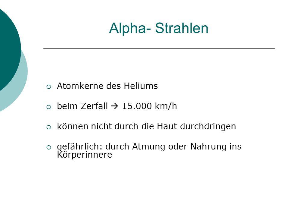 Alpha- Strahlen  Atomkerne des Heliums  beim Zerfall  15.000 km/h  können nicht durch die Haut durchdringen  gefährlich: durch Atmung oder Nahrun