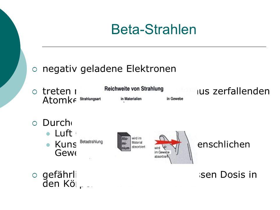 Beta-Strahlen  negativ geladene Elektronen  treten mit Lichtgeschwindigkeit aus zerfallenden Atomkernen aus  Durchdringungsvermögen: Luft  einige