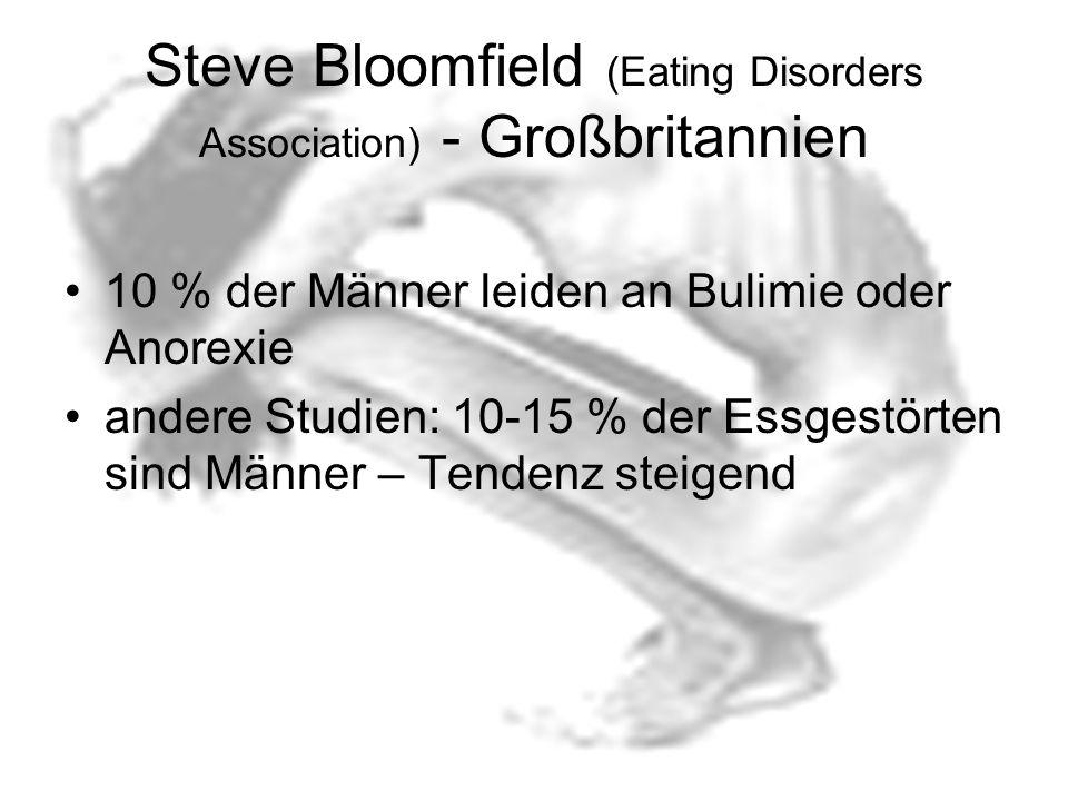 Steve Bloomfield (Eating Disorders Association) - Großbritannien 10 % der Männer leiden an Bulimie oder Anorexie andere Studien: 10-15 % der Essgestör