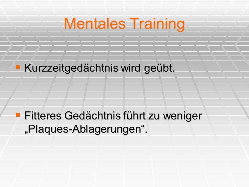 Mentales Training  Kurzzeitgedächtnis wird geübt.