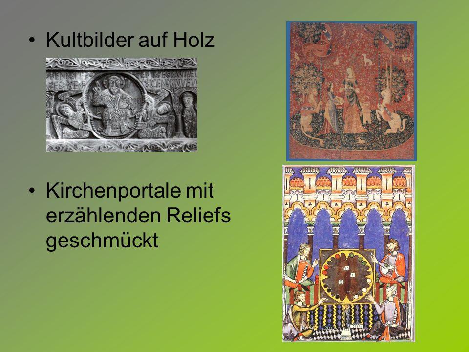 Kultbilder auf Holz Kirchenportale mit erzählenden Reliefs geschmückt