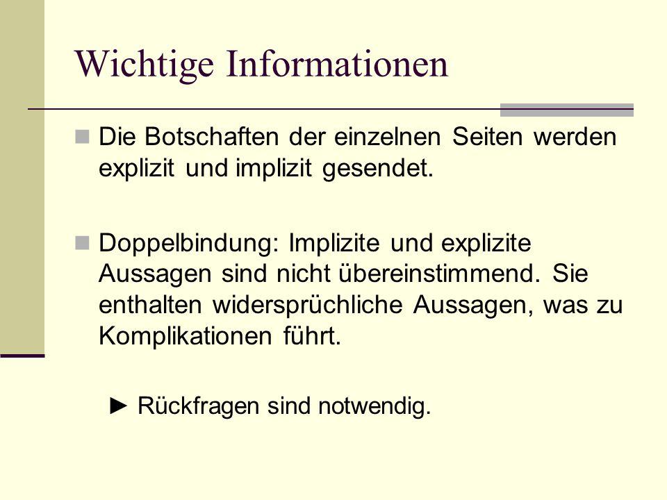 Wichtige Informationen Die Botschaften der einzelnen Seiten werden explizit und implizit gesendet. Doppelbindung: Implizite und explizite Aussagen sin