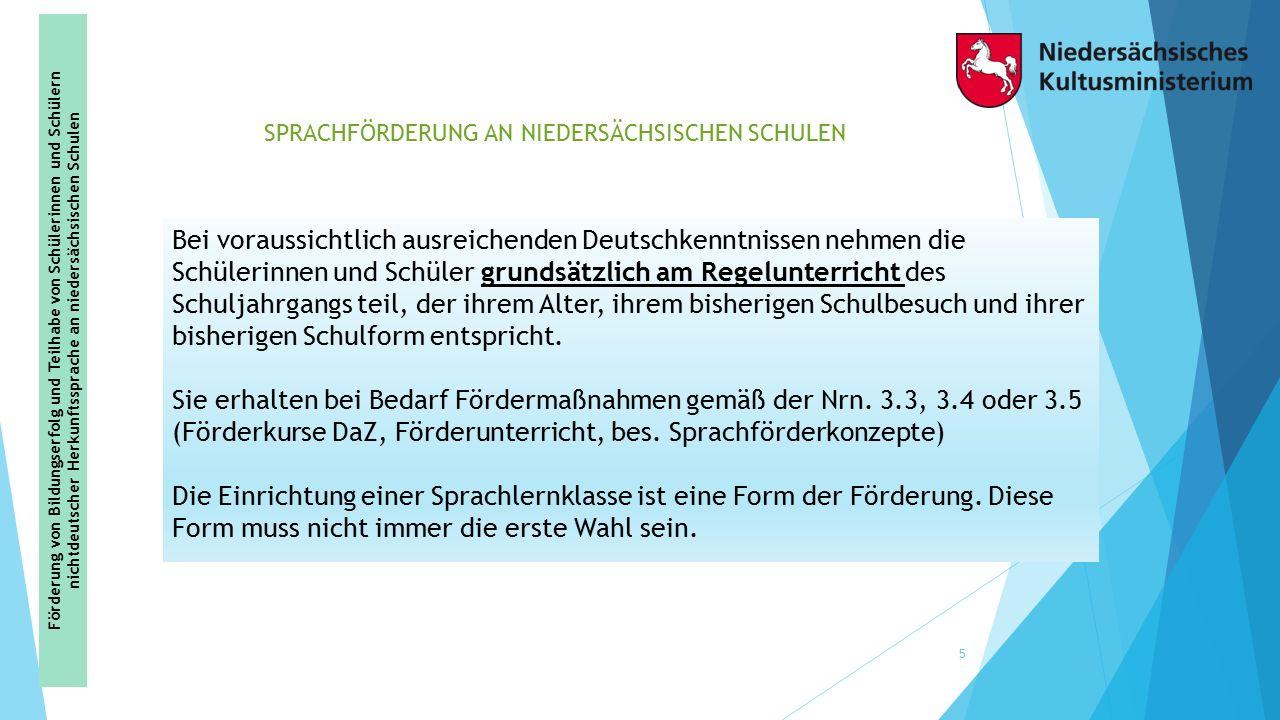 SPRACHFÖRDERUNG AN NIEDERSÄCHSISCHEN SCHULEN 5 Bei voraussichtlich ausreichenden Deutschkenntnissen nehmen die Schülerinnen und Schüler grundsätzlich